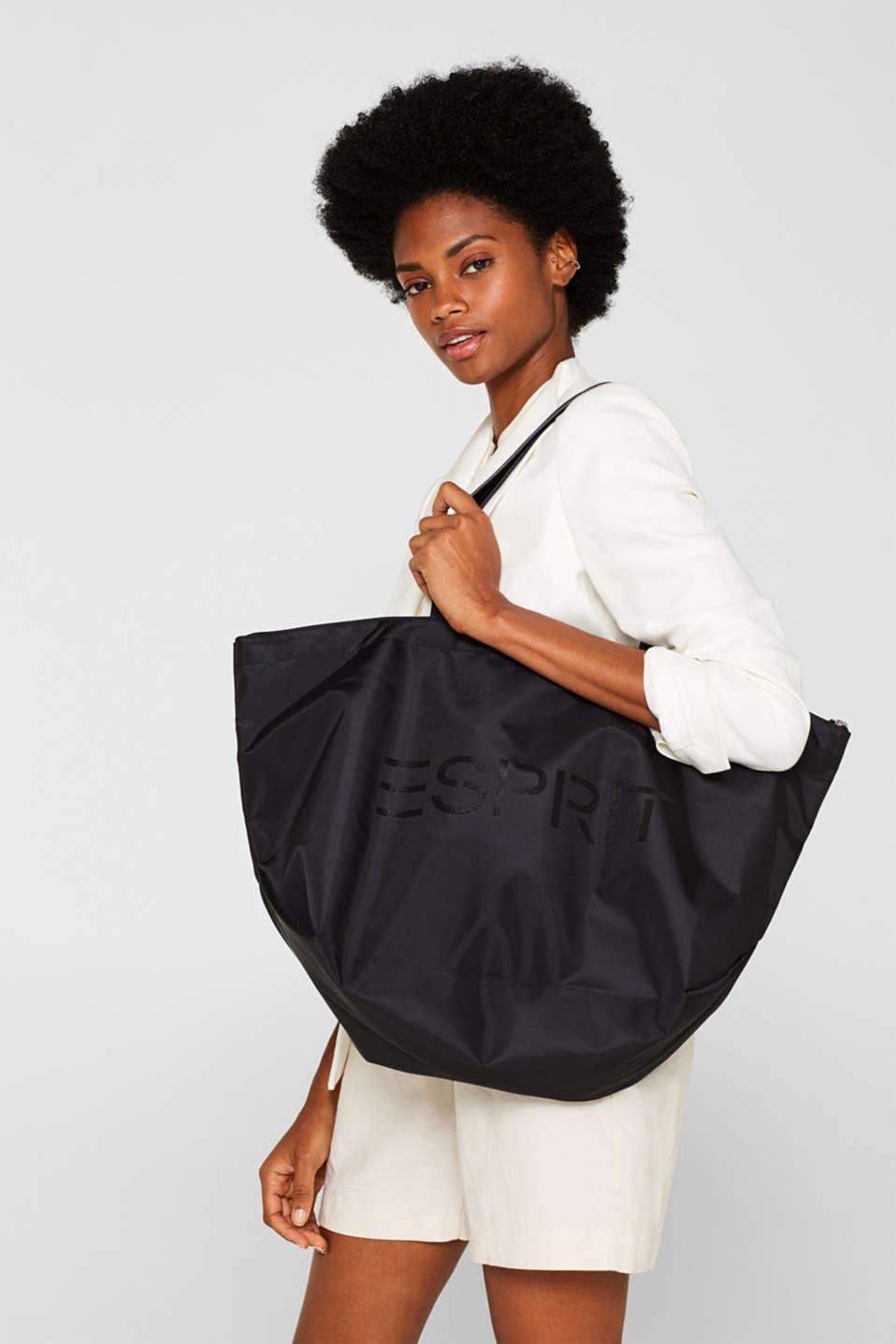 Nylon tote bag, BLACK, detail image number 0