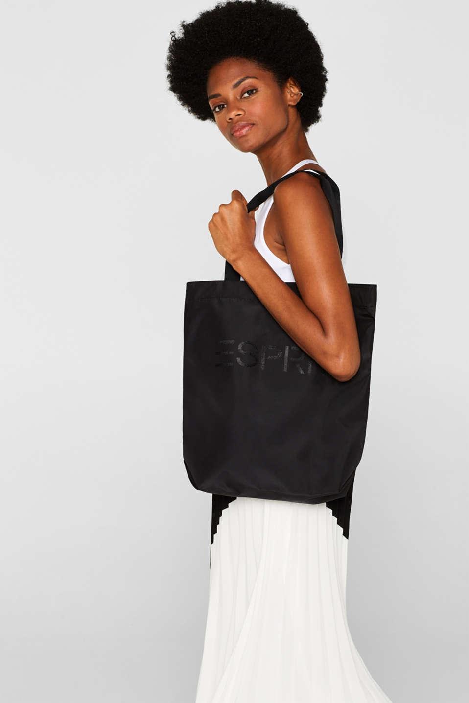 Nylon shopper with a tonal logo, BLACK, detail image number 1