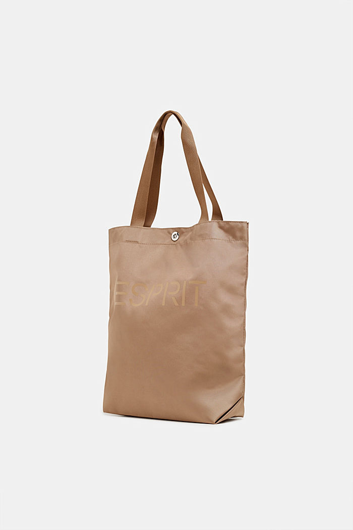 Nylon shopper with a tonal logo, BEIGE, detail image number 1