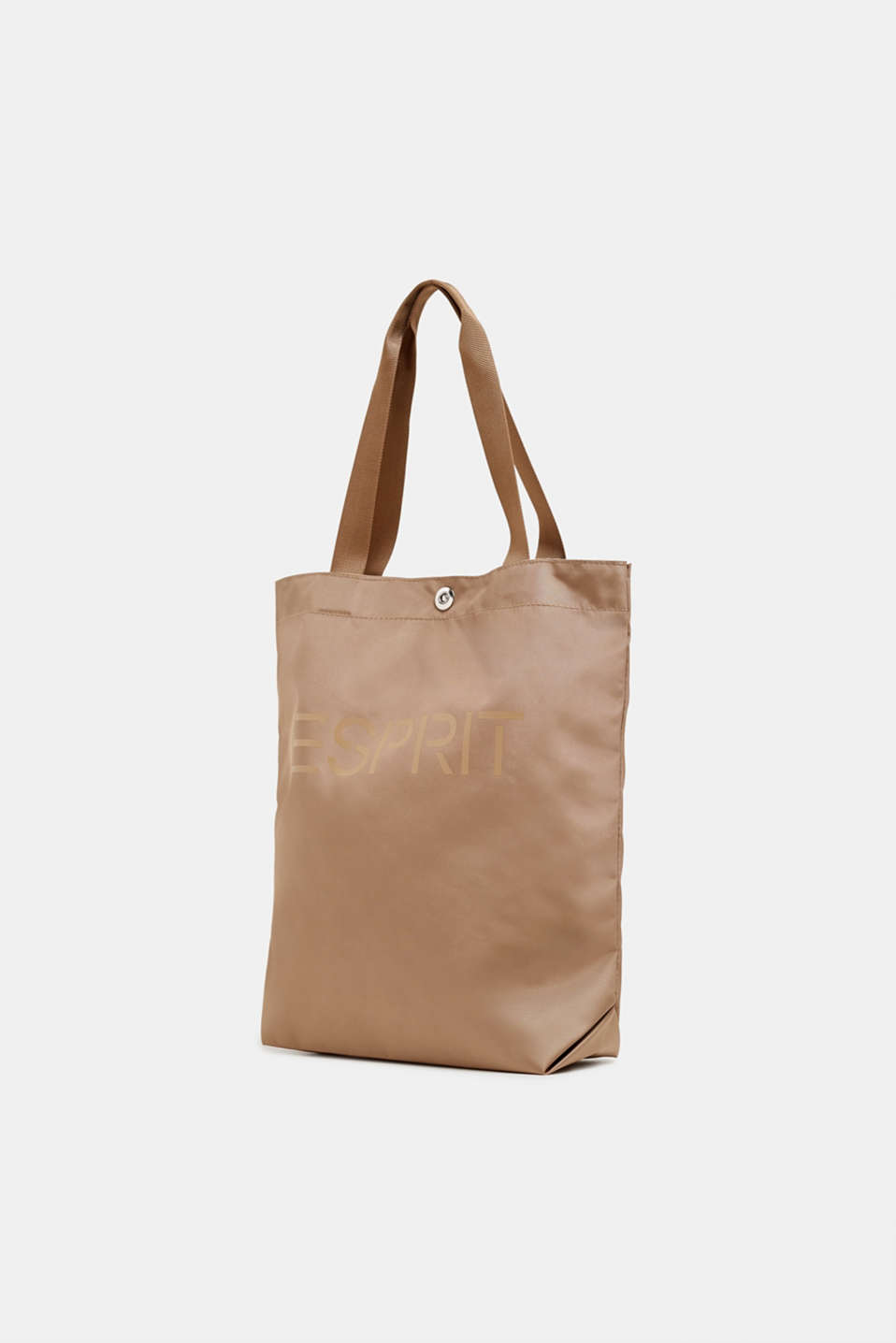 Vertical nylon shopper with a logo print, BEIGE, detail image number 2