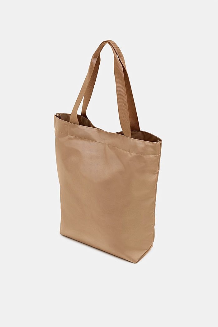 Nylon shopper with a tonal logo, BEIGE, detail image number 4