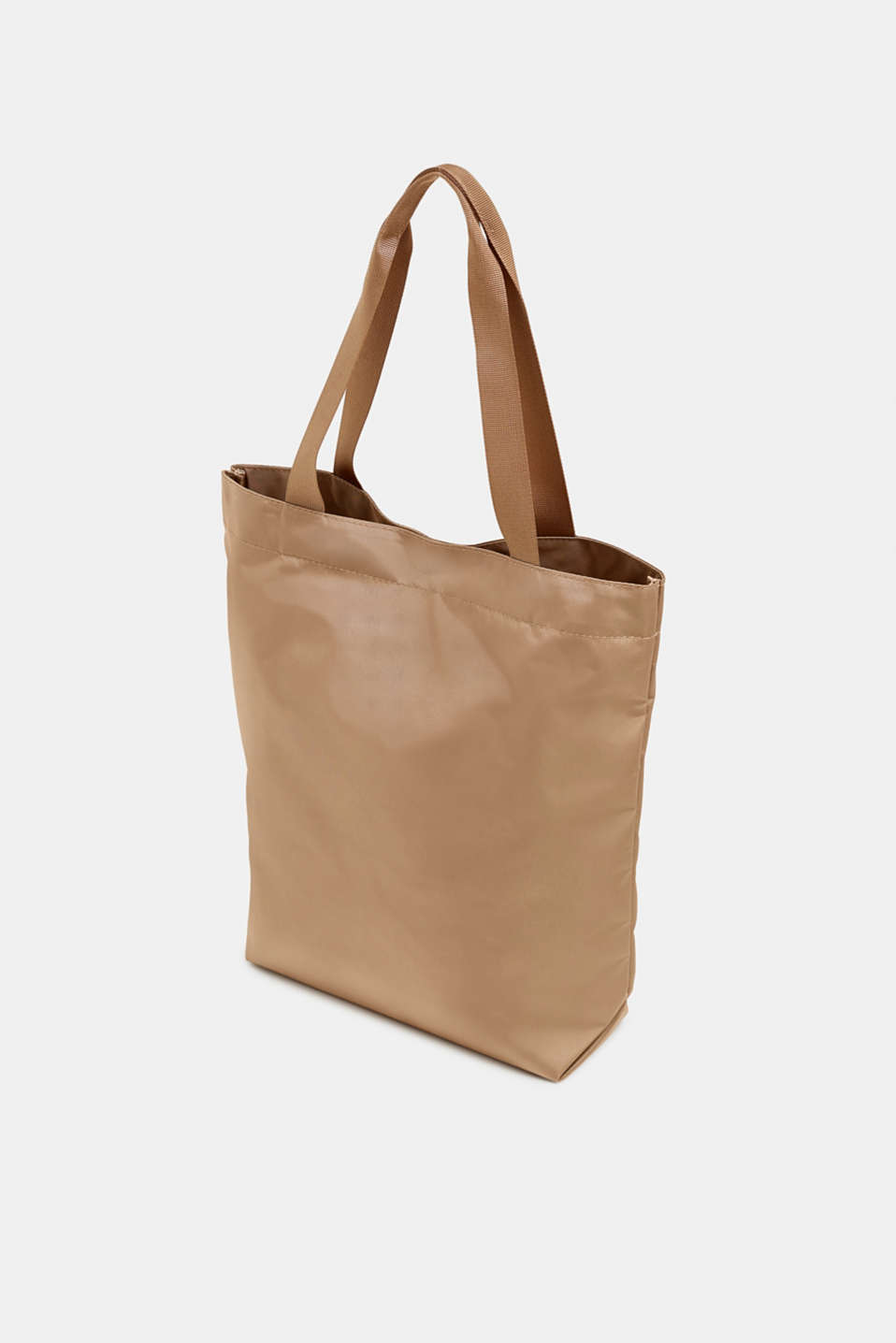 Vertical nylon shopper with a logo print, BEIGE, detail image number 5