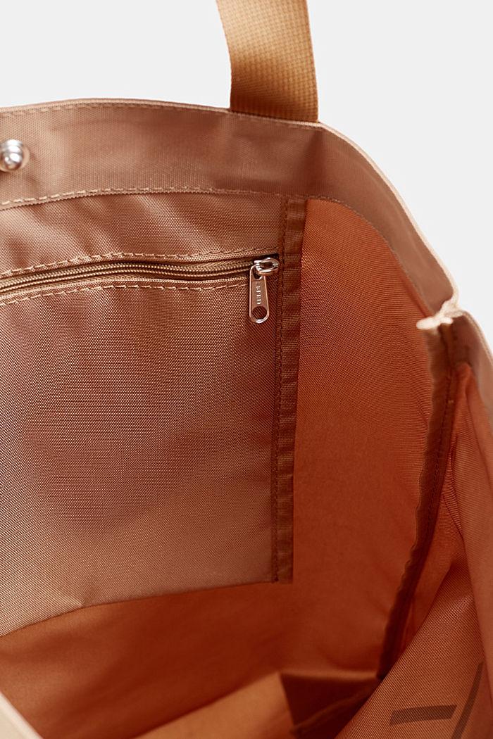 Nylon-shopper med farveharmonisk logo, BEIGE, detail image number 3