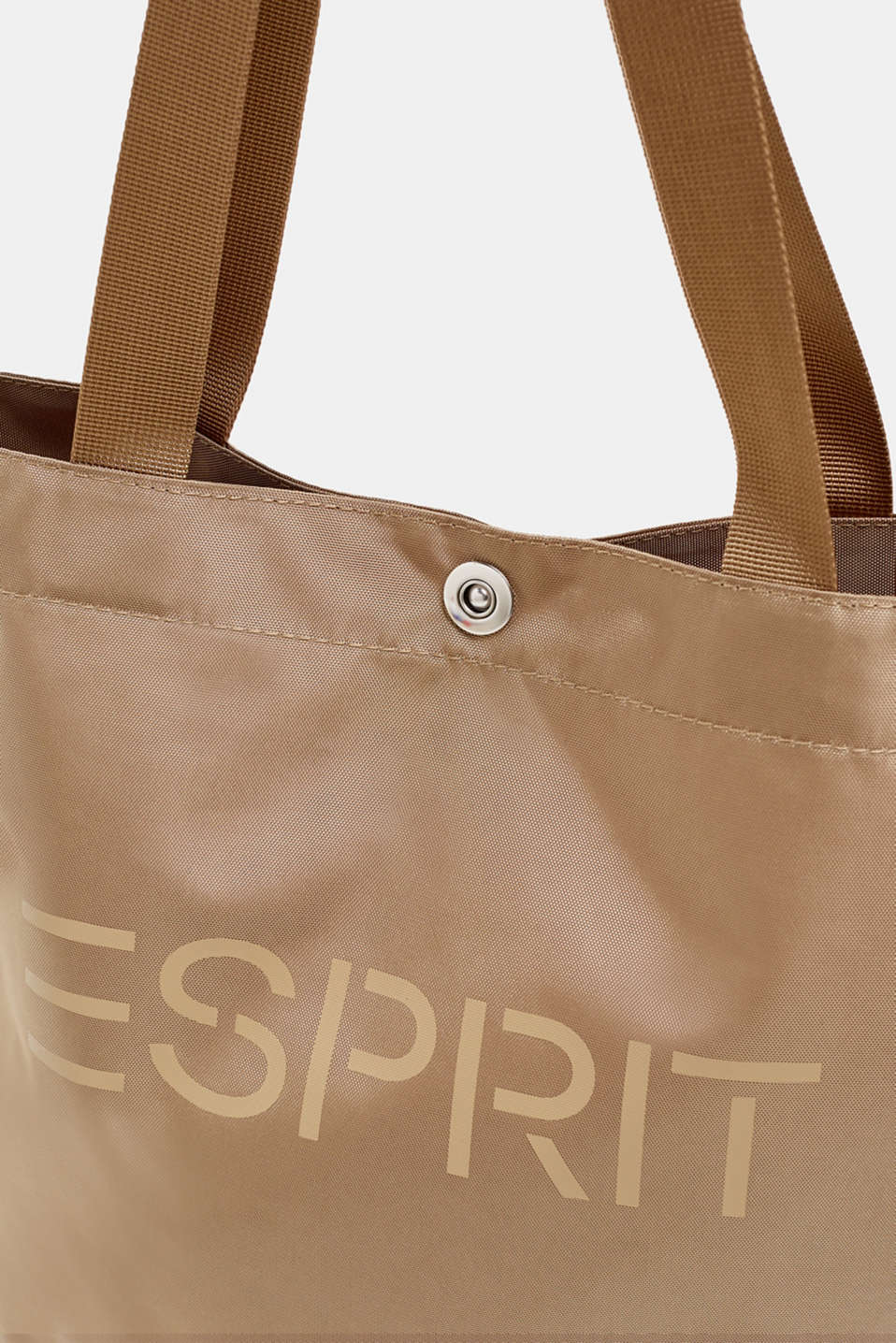 Vertical nylon shopper with a logo print, BEIGE, detail image number 3