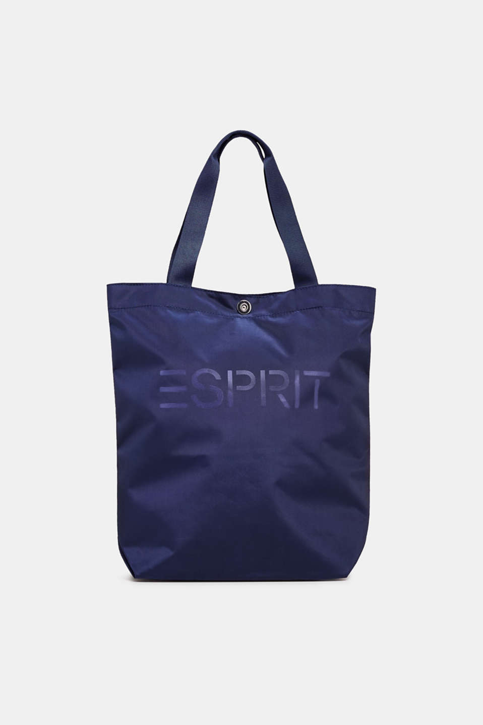 Vertical nylon shopper with a logo print, NAVY, detail image number 0