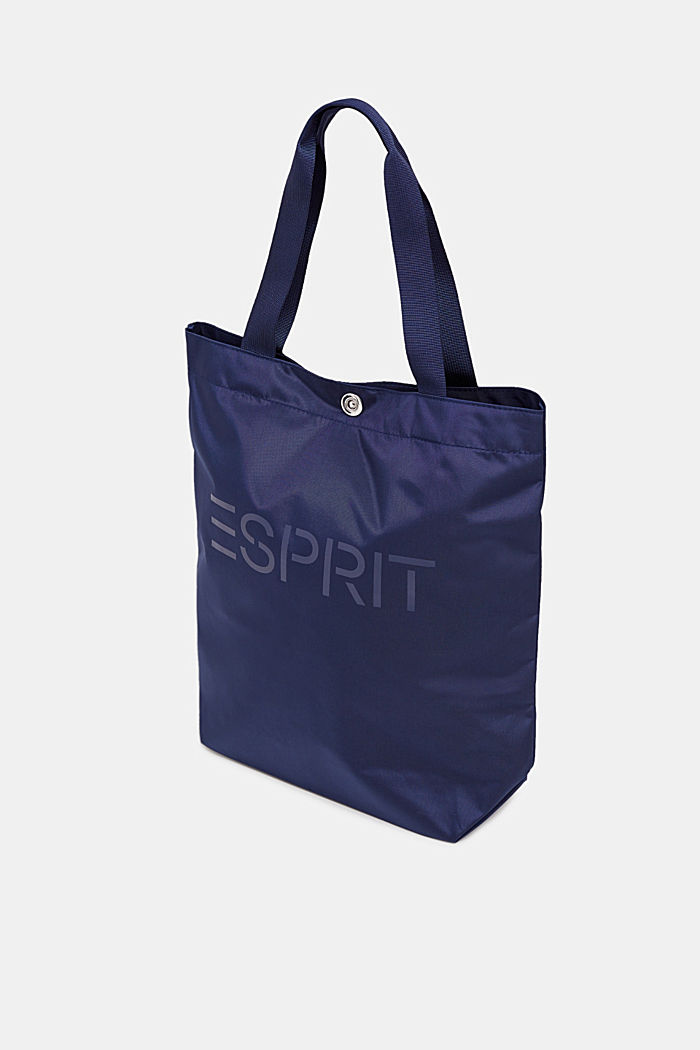 Nylon shopper with a tonal logo, NAVY, detail image number 1