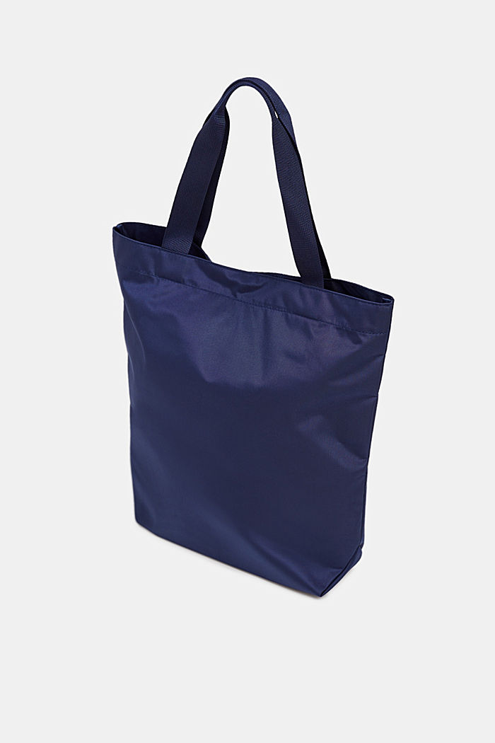 Nylon shopper with a tonal logo, NAVY, detail image number 4