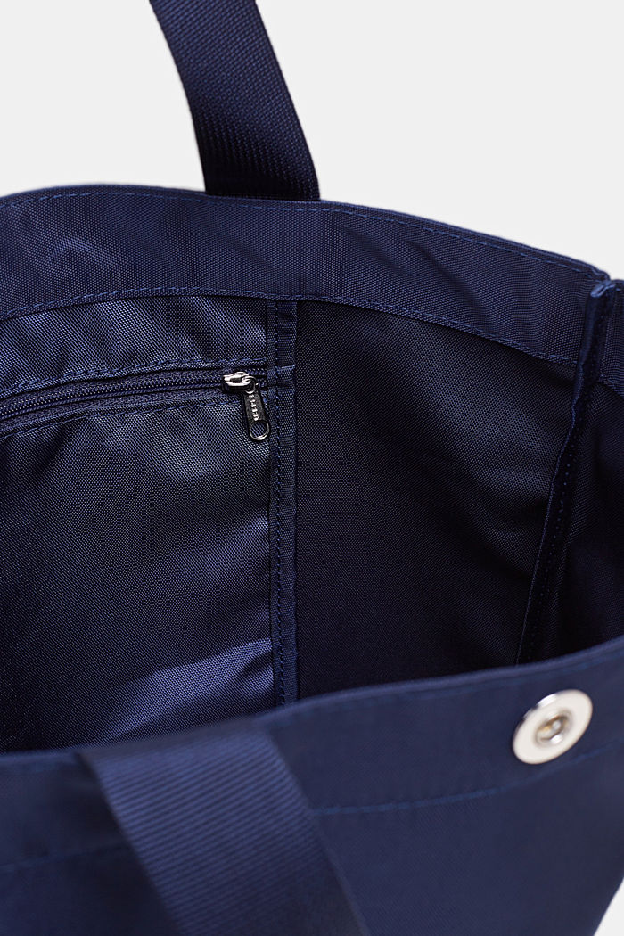 Nylon shopper with a tonal logo, NAVY, detail image number 3
