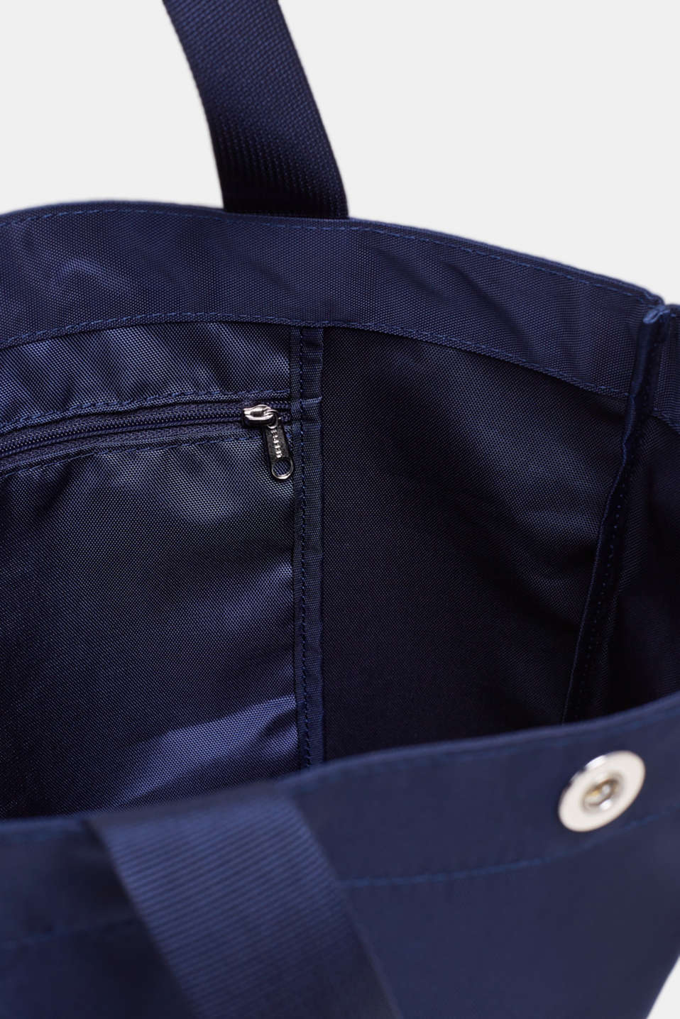 Vertical nylon shopper with a logo print, NAVY, detail image number 4