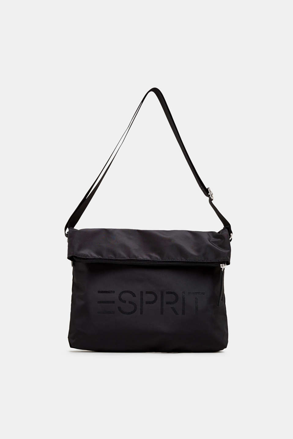 Nylon shopper with a logo and adjustable flap