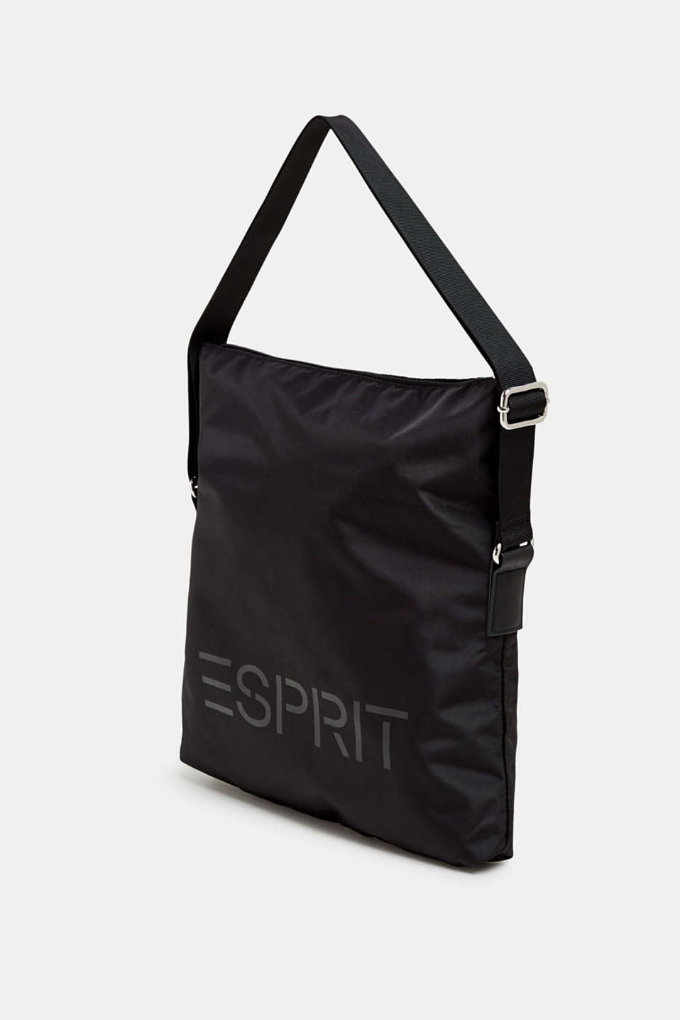 Nylon bag with a logo and adjustable clasp, BLACK, detail image number 2