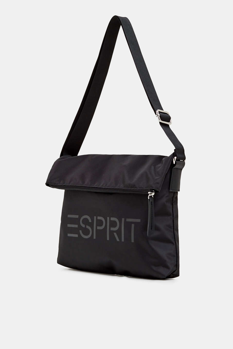 Nylon bag with a logo and adjustable clasp, BLACK, detail image number 4