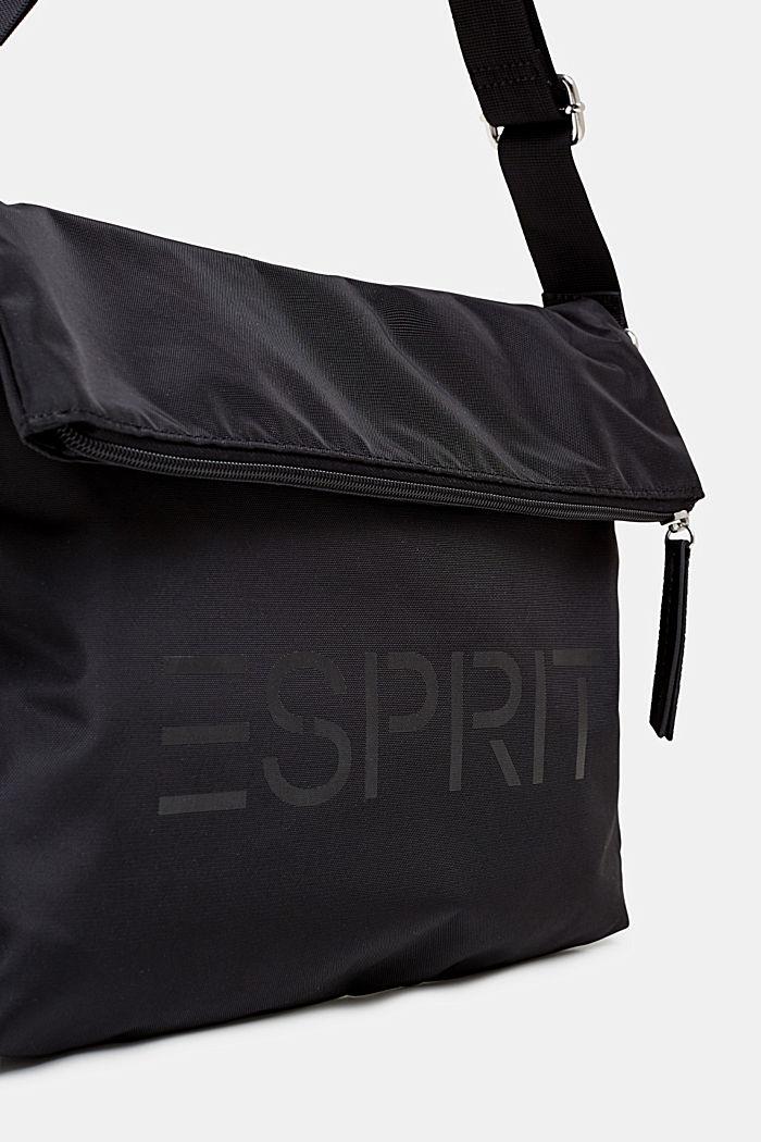 Nylonová kabelka s logem a variabilní klopou, BLACK, detail image number 2