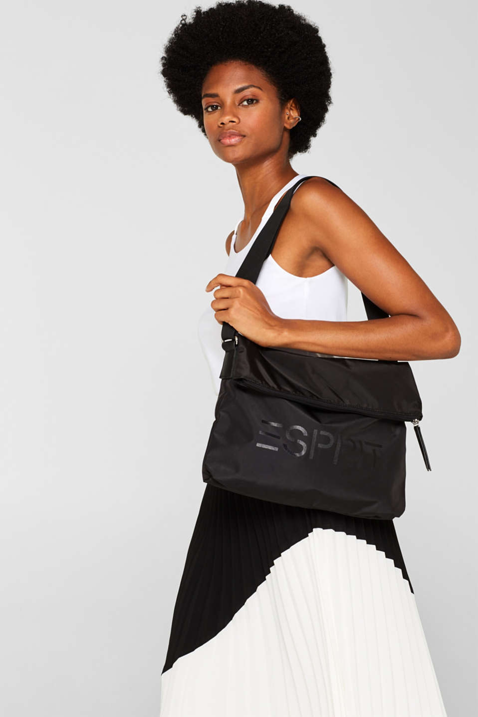 Nylon bag with a logo and adjustable clasp, BLACK, detail image number 1