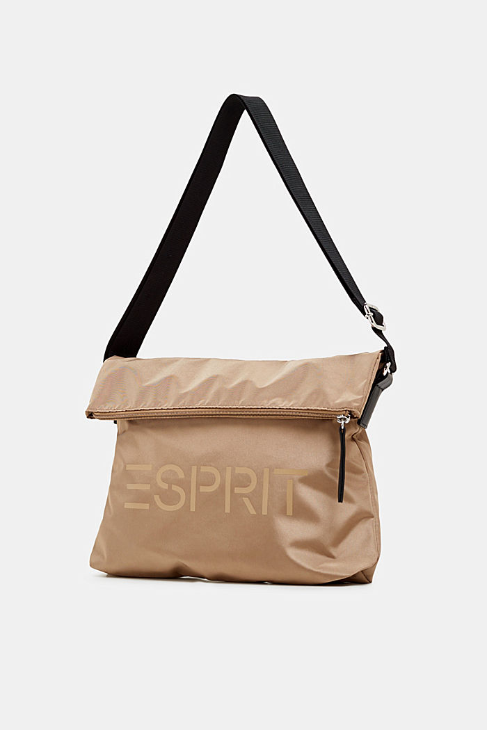 Nylon bag with a logo and adjustable clasp, BEIGE, detail image number 1