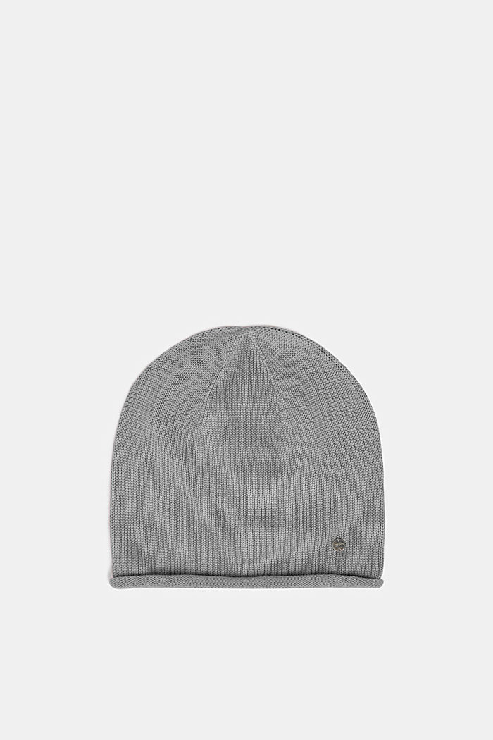 Knitted beanie in 100% cotton, LIGHT GREY, detail image number 0