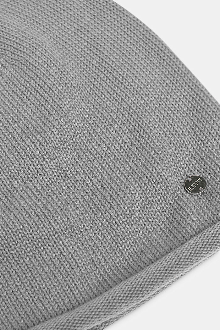 Knitted beanie in 100% cotton, LIGHT GREY, detail image number 1