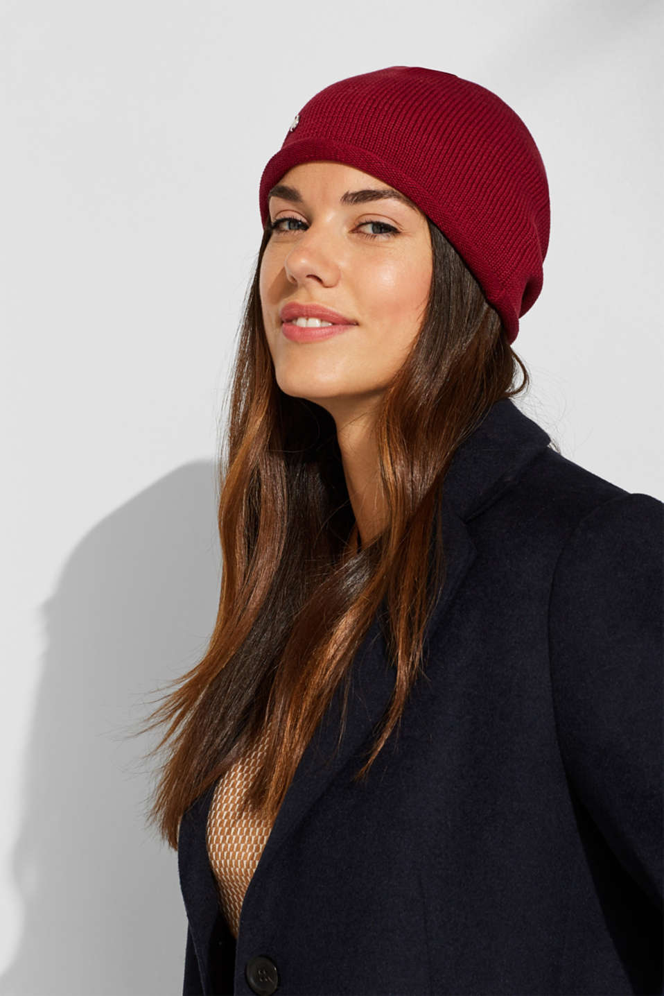 Knitted beanie in 100% cotton, PLUM RED, detail image number 2