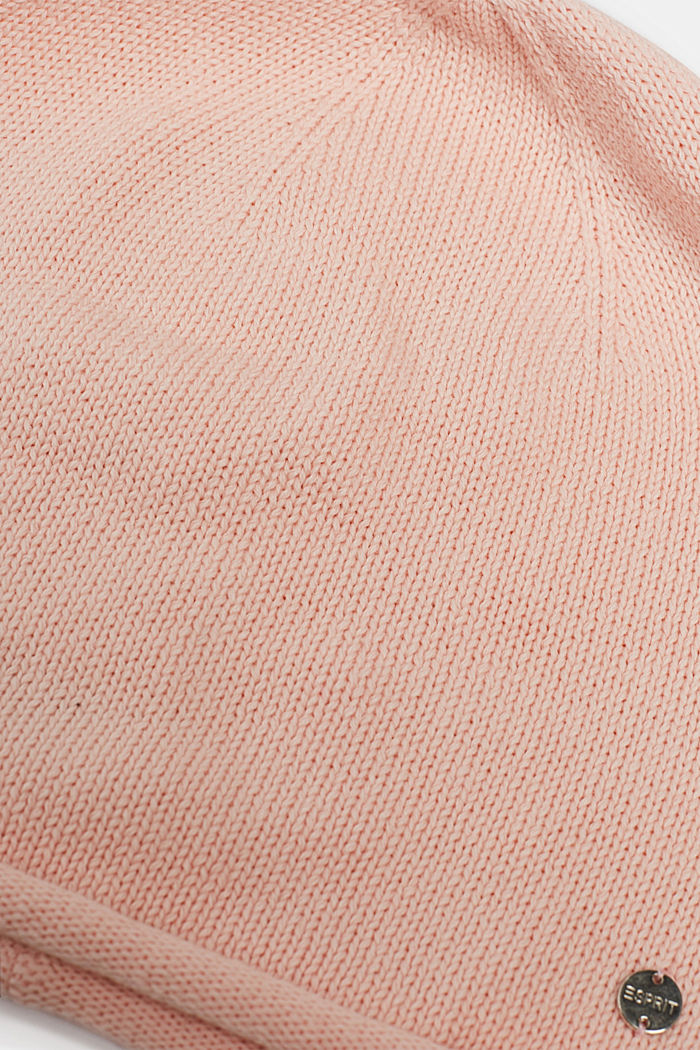 Knitted beanie in 100% cotton, BLUSH, detail image number 1