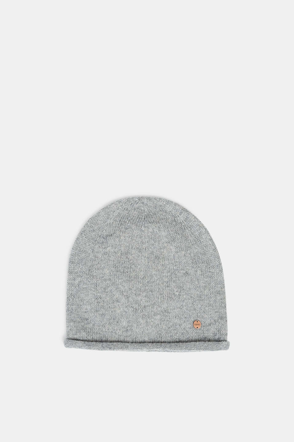 Knit cap with wool, LIGHT GREY, detail image number 0