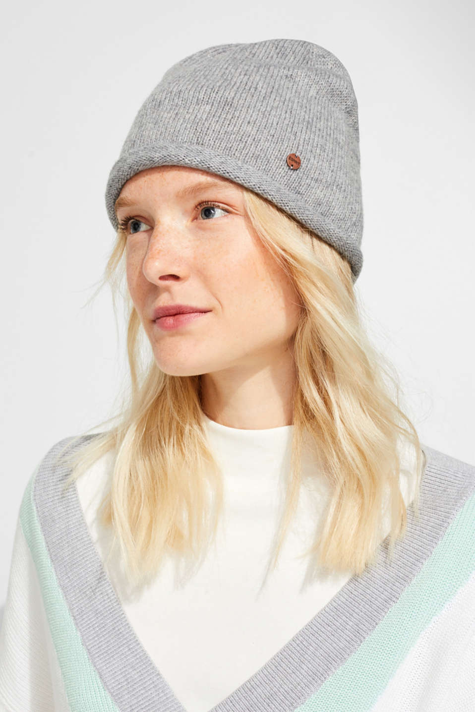 Knit cap with wool, LIGHT GREY, detail image number 2