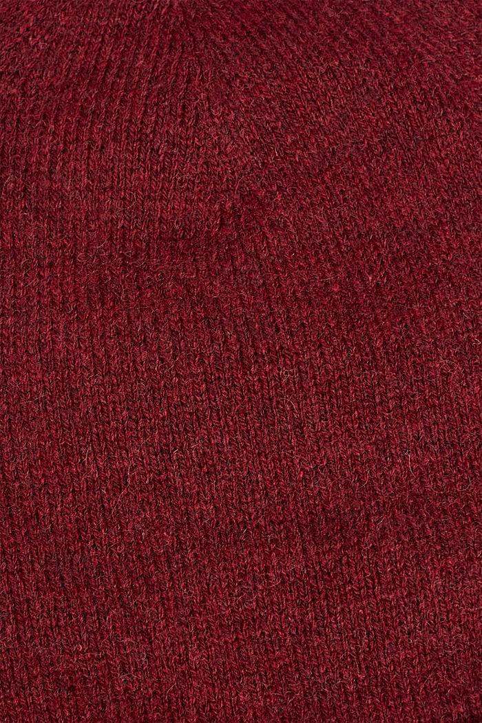 Gebreide muts met wol, BORDEAUX RED, detail image number 1
