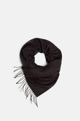 Oversized scarf with fringing, BLACK, detail