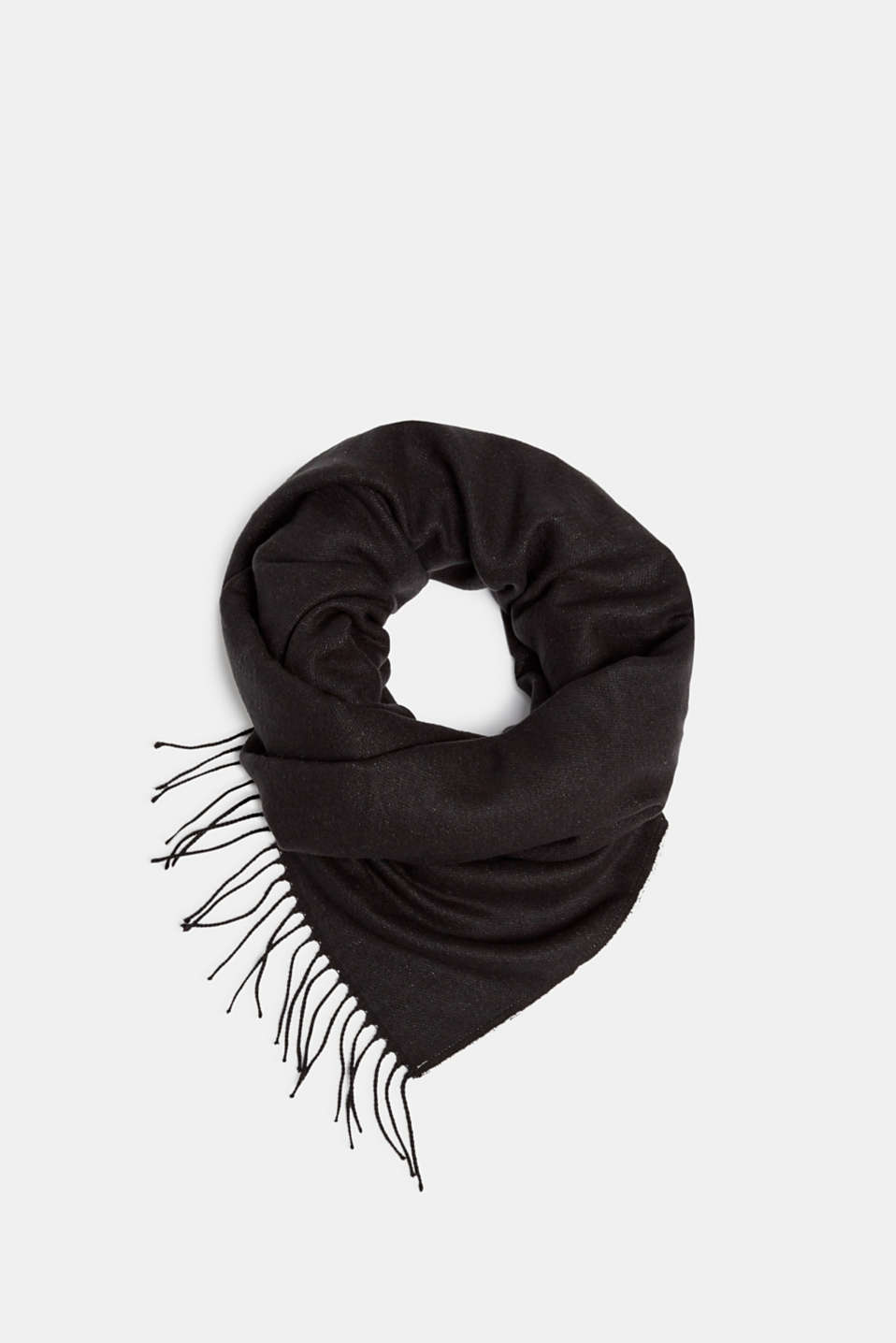 Oversized scarf with fringing, BLACK, detail image number 0