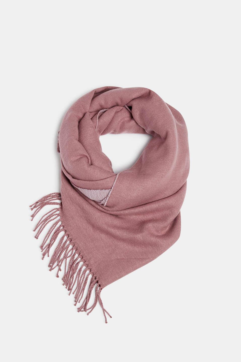Oversized scarf with fringing, MAUVE, detail image number 0