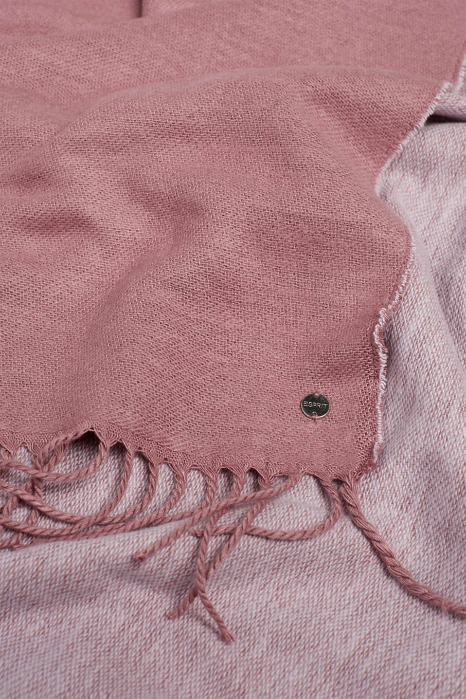 Oversized scarf with fringing, MAUVE, detail image number 2