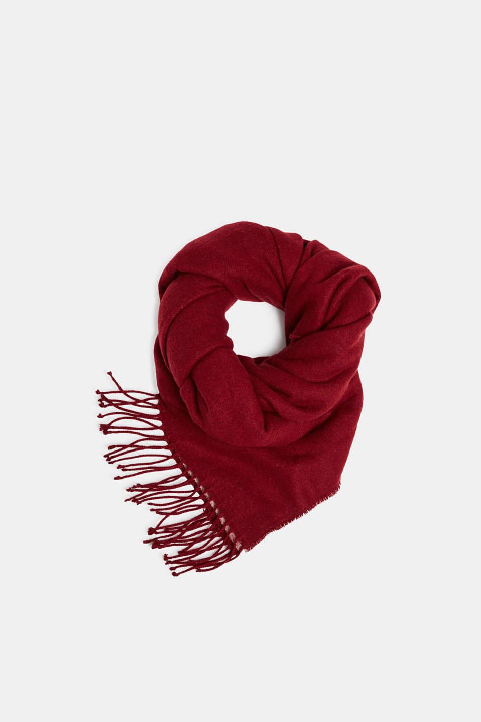 Oversized scarf with fringing, BORDEAUX RED, detail image number 0