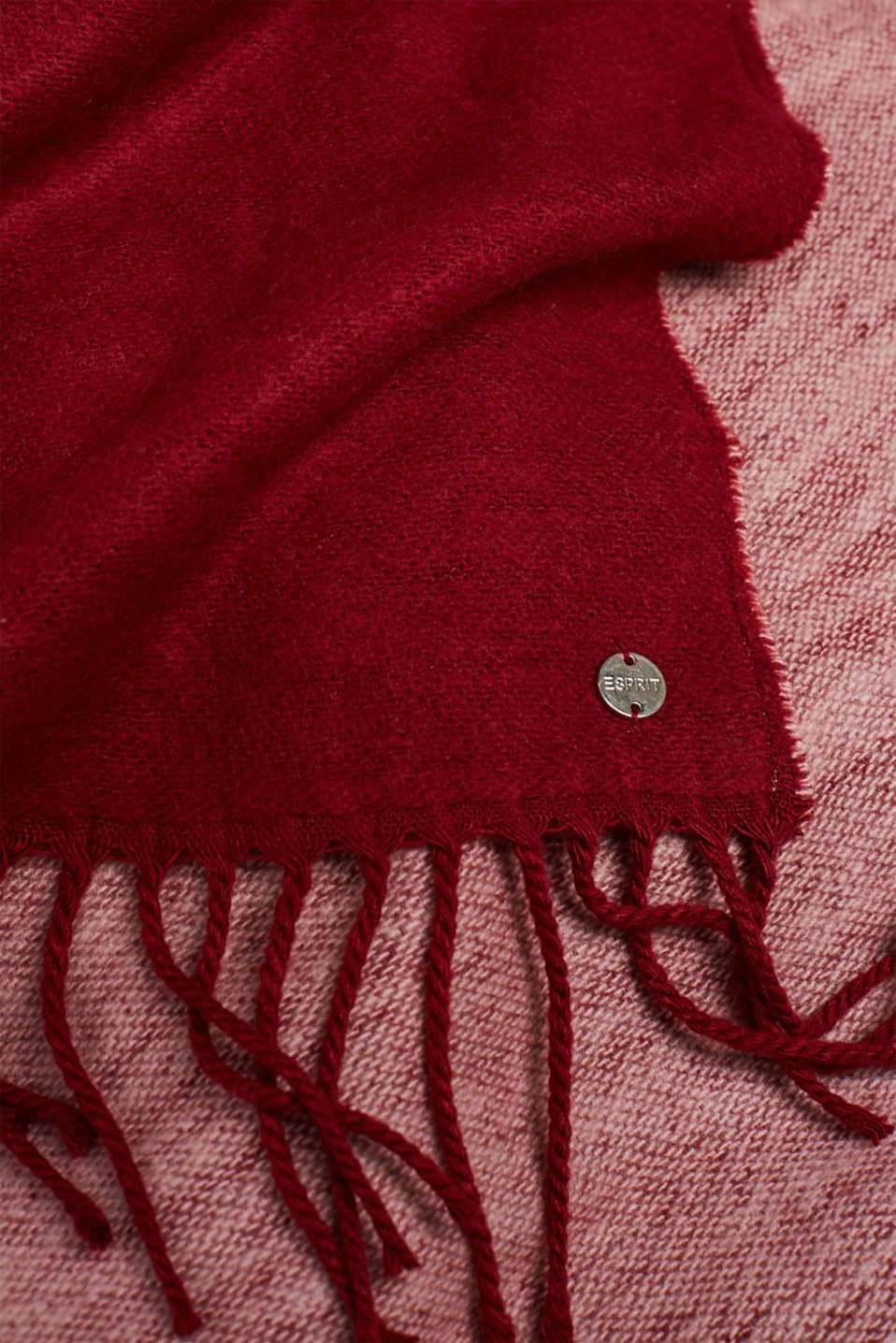 Oversized scarf with fringing, BORDEAUX RED, detail image number 2