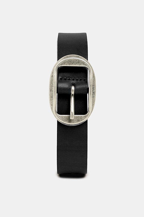 Leather belt with a vintage buckle