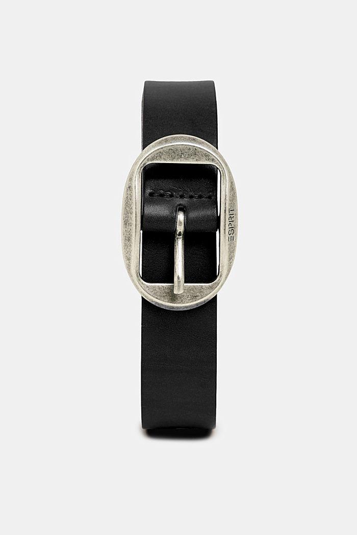 Leather belt with a vintage buckle, BLACK, detail image number 0