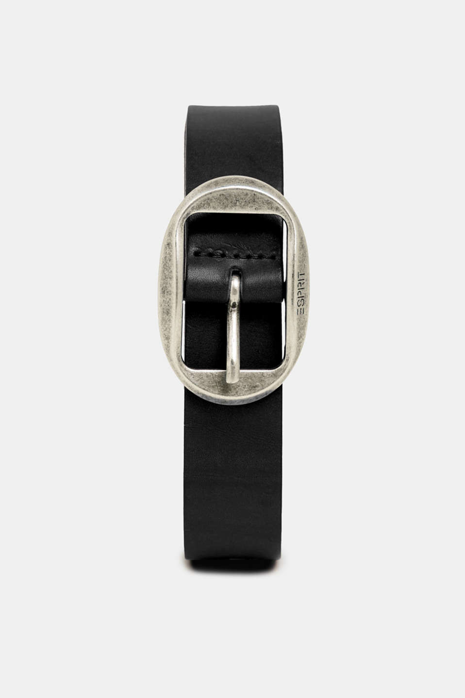 Leather belt with a vintage buckle, BLACK, detail image number 0