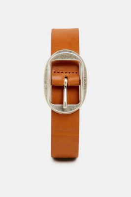 Leather belt with a vintage buckle, RUST BROWN, detail