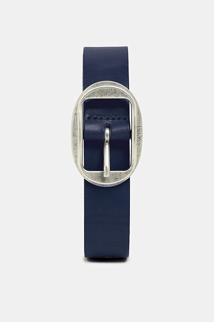 Leather belt with a vintage buckle, NAVY, detail image number 0