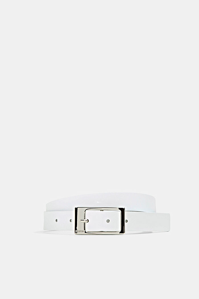 Cowhide leather belt, WHITE, overview