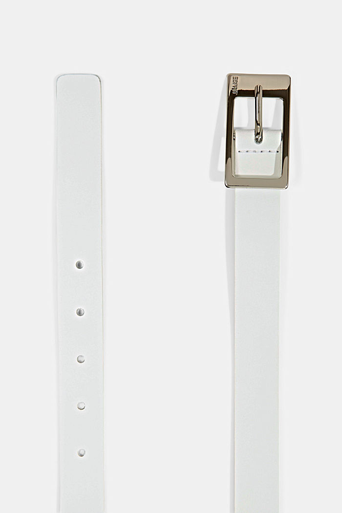 Cowhide leather belt, WHITE, detail image number 1