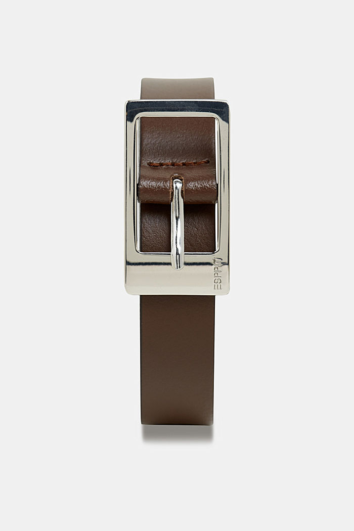 Basic leather belt, BROWN, detail image number 0