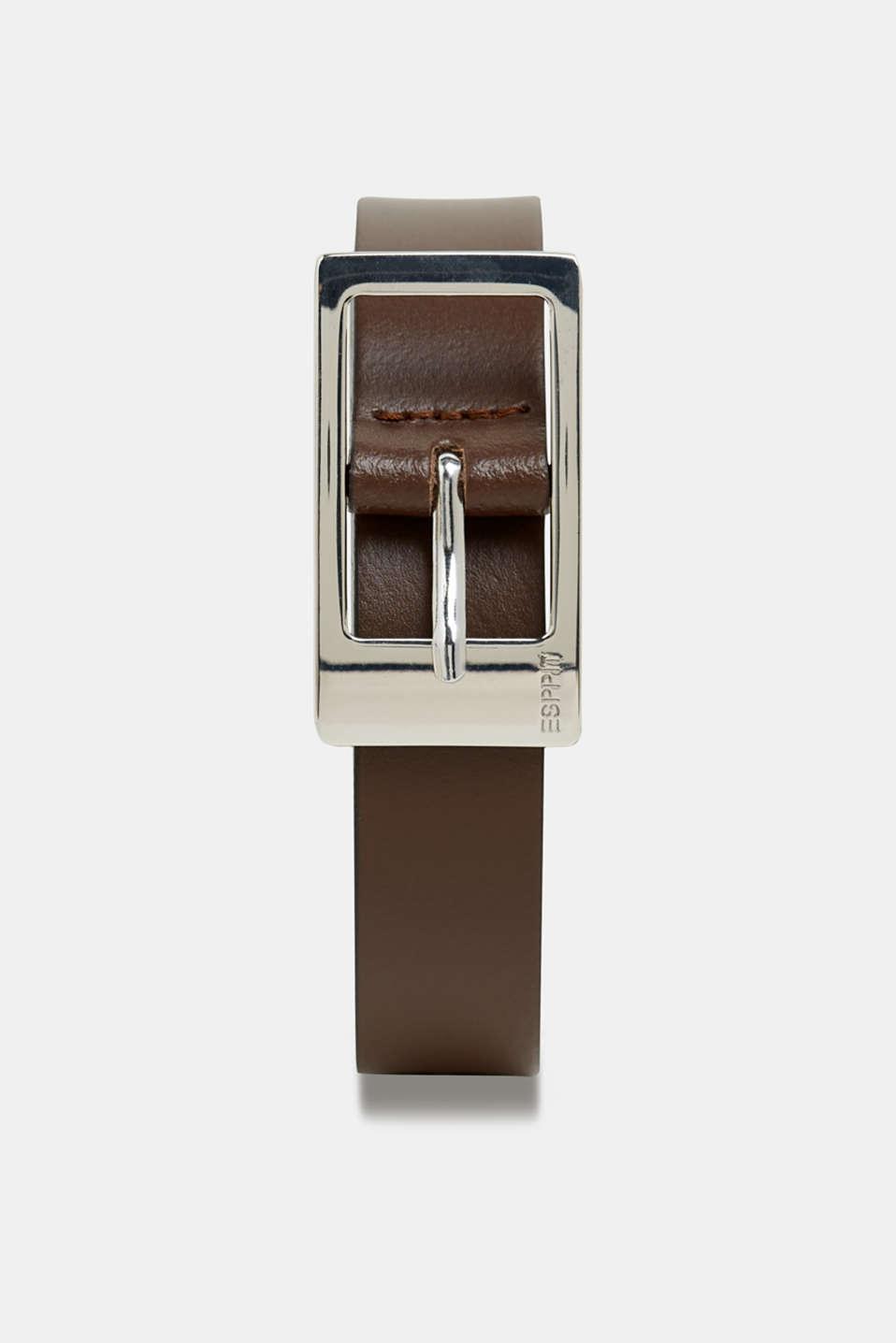 Basic leather belt, BROWN, detail image number 0