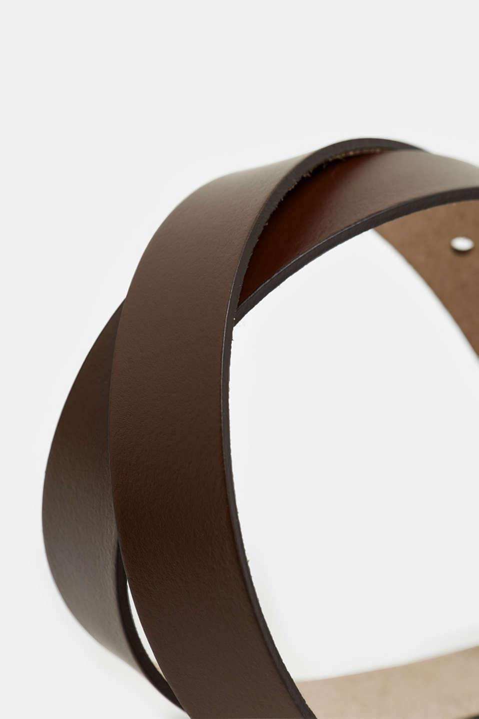 Basic leather belt, BROWN, detail image number 1