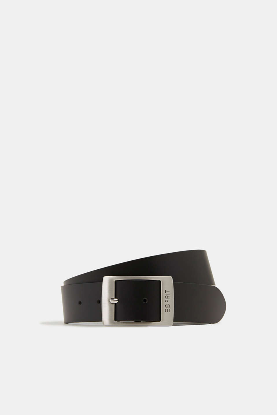 Wide leather belt, BLACK, detail image number 0