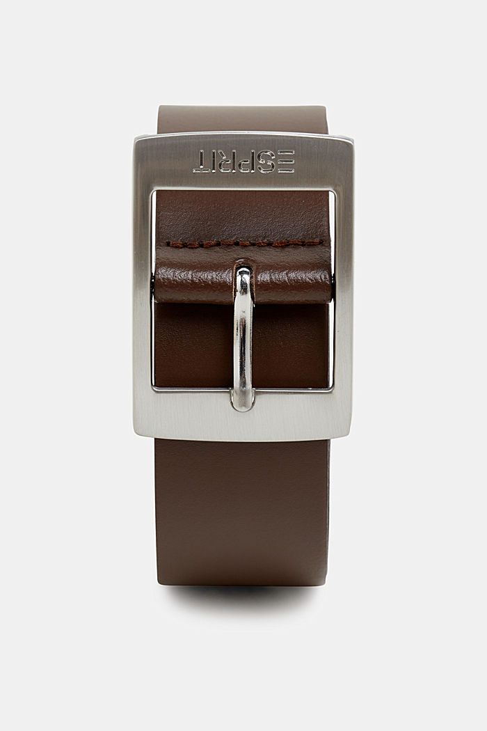 Wide leather belt, BROWN, overview