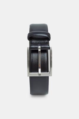 Leather business belt, BLACK, detail