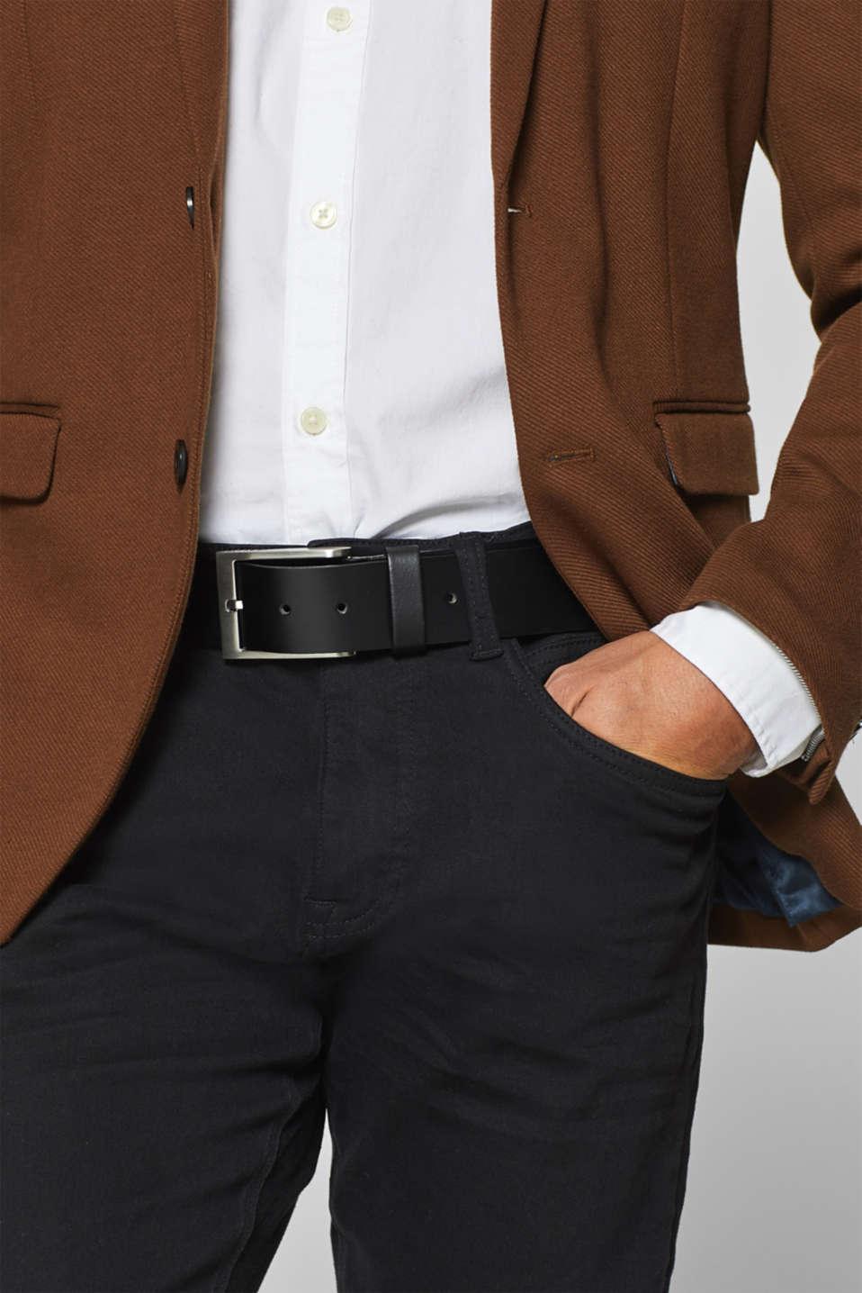 Basic smooth leather belt, BLACK, detail image number 2