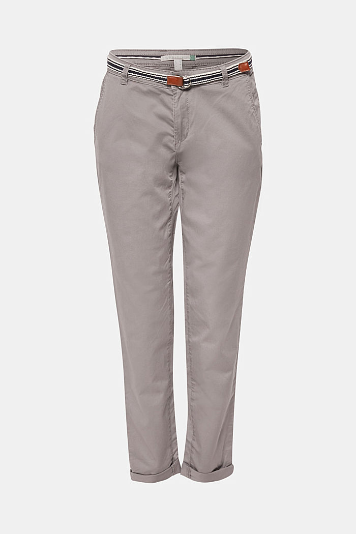 Stretch chinos with organic cotton, LIGHT GREY, detail image number 0