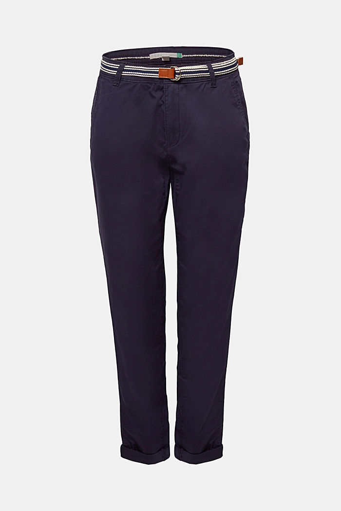 Stretch-Chino mit Organic Cotton, NAVY, detail image number 0