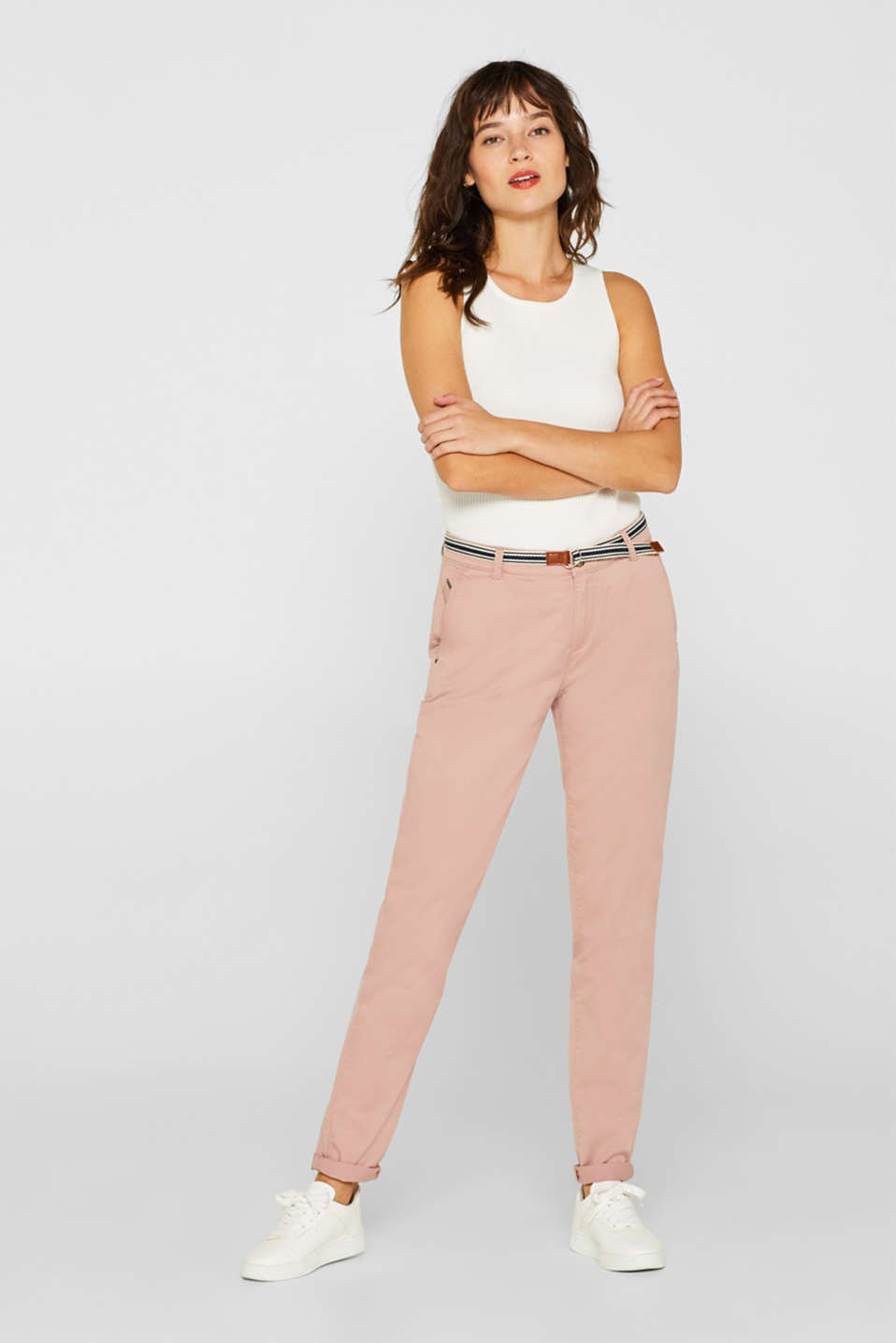 Esprit - Stretch chinos with organic cotton
