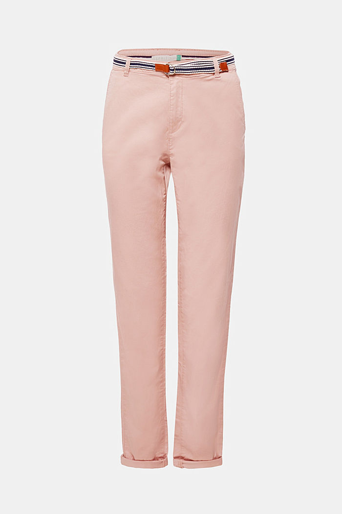 Chino met stretch en organic cotton, OLD PINK, overview